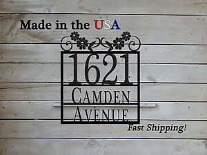 Floral Pattern, Decorative Address Sign,  HN1049