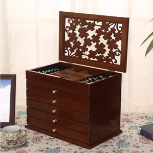 6 floors Classical Wooden Jewellery Box Storage Rings necklace Organiser case
