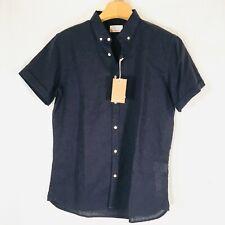 Knowledge cotton apparel button shirt NEW organic Linen blend Blue LArge
