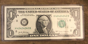 """2017 $1 Federal Reserve Note """"Super Repeater"""" Fancy Serial Number H42424242B"""