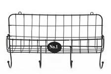Black Metal Wire Vintage Wall Rack Storage Basket Holder Key Hooks Letter Rack