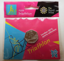 2012 50p OLYMPIC 25/29 TRIATHLON COIN HANGING BAG BRILLIANTLY UNCIRCULATED @