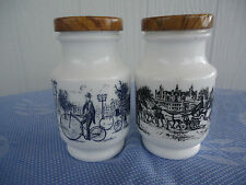 2 vintage retro belgium milk glass spice canisters vintage bike