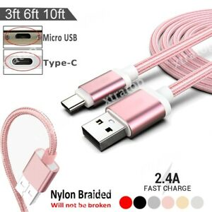 3/6/10FT Type-C/Micro USB Fast Charger Cable Sync Cord For Samsung Huawei XiaoMi