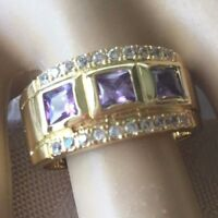 Vintage Jewellery Gold Ring with Amethysts White Sapphires Antique Deco Jewelry