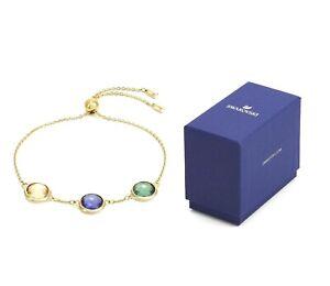 New in Gift Box SWAROVSKI Brand 5565550 Gold Tahlia Three Crystals Bracelet