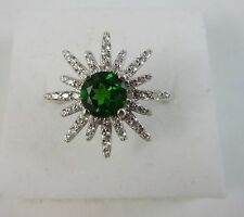HSN Rarities Carol Brodie Chrome Diopside Starburst Silver Ring Size 6 New
