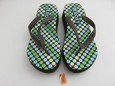 Roxy Wedge Flip Flops Sandals Women's Sz 7 Brown With Multi Colored Polka Dots