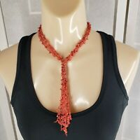 Vintage Crocheted Necklace Glass Seed Bead Woven & Tassel Choker