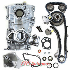 Front Timing Cover Chain Kit+Water & Oil Pump For 91-94 Nissan 240SX 2.4L KA24DE
