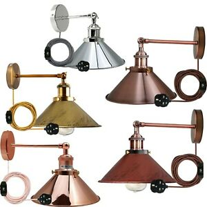 Wall Light Fitting Dimmer Plug in Lounge Lamp Modern Vintage Industrial Indoor