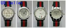 Wholesale Lot 4 Watches Stripe Red Green Cloth Band Quartz Women's Wrist Watch