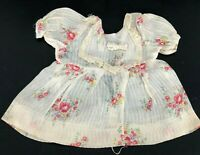 True Vintage Organdy Doll Dress Rose Floral Cottage Antique Bib Collar LOVELY