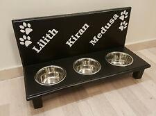 Hundebar Napfbar, Futterbar, Napfständer 3 Näpfe, schwarz. Wunschnamen (81e)