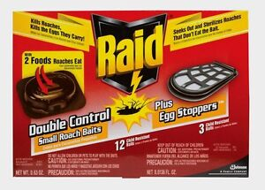 RAID 12pk Double Control ROACH & EGG KILLER Bait Station Insect Pest EASY 15745