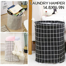 Foldable Waterproof Canvas Laundry Basket Storage Washing Bag Clothes Hamper USA
