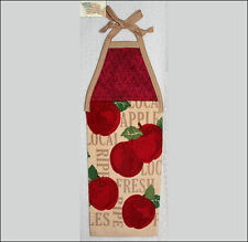 hanging kitchen towel tie straps padded machine quilted top APPLES B