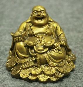 Chinese Brass Buddhism Wealth Coin YuanBao Happy Laughing Maitreya Buddha Statue
