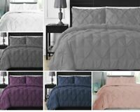 PINTUCK PLEATED DUVET QUILT COVER BEDDING SET 100% COTTON DOUBLE SUPER KING SIZE
