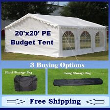 Budget PE Party Canopy-3 Options -20'x20' Tent,Short Bag,and Long Bag- In Stock