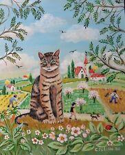 "Charlotte Julian -  ""Le chat Grisou"" - Art Naïf - Oeuvre originale -  Tableau -"