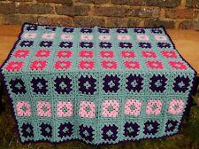 Vintage Handmade Granny Knit Crochet Blanket Throw Retro 120cm x 117cm #A