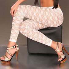 Sexy Black/White Stretch Women Leggings Bandage Floral Lace Mesh Pants