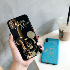 Bronzing Disney Mickey Mouse Alice Case for Apple iPhone Xs Max X 8 Glossy Cover