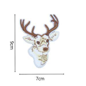 Reindeer Iron On Patch Badge Motif 9cm x 7cm Animals Winter Seasonal Badges P286