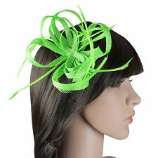 LOOP AND FEATHER FASCINATOR WEDDINGS RACING PARTY PROM HAIR HEADPIECE BRIDAL