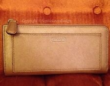 Coach (F50439) Pewter Gold Accordion Zip Wallet Saffiano Leather $218 MINT •NICE