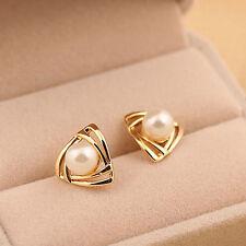 18K gold Plated Shining Pearl Unique Graceful Women's Ear Stud earrings Hot