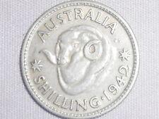 1942  Australian Silver 1/- One Shilling ( Shilling) KING GEORGE VI  (very Nice)