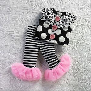 Baby Girl Mud Pie Ruffle Spotted Pink Black White Capri Set Perfectly Princess