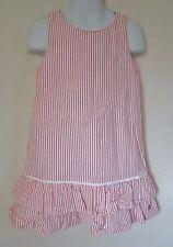 Tommy Hilfiger Girls 4 4T Dress Pink Seersucker Sleeveless Ruffle Summer