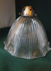 Good size antique Holophane light lamp shade with antiqued copper gallery