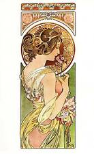 """Alphonse Mucha 1976 Authentic Vintage Art Nouveau Print """"Primevere"""" LIBRO Piastra"""
