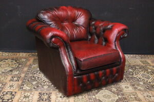 Poltrona club / armchair / Chesterfield chester pelle bordeaux originale inglese