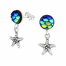 925 Sterling Silver Mermaid Starfish Drop Stud Earrings - Gift Boxed