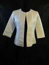 GRAYSE Womans White Silk/Cotton/Metal Faux Crocodile Jacket Size 4 NWT