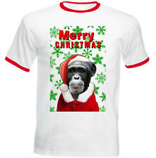 Monkey snowflakes merry christmas - RED RINGER COTTON TSHIRT