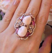 angelskin Coral, Zafiro Rosa Diamante Anillo en 18ct Oro Blanco/Rosa - hm830