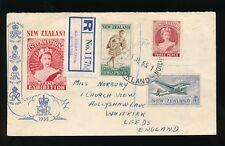 STAMP EXHIBITION NEW ZEALAND 1955 REGISTERED ETIQUETTE + CANCEL..ILLUSTRATED ENV