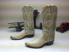 WINTER WHITE BONE JUSTIN OSTRICH LEATHER WESTERN ROCKABILLY DANCE BOOTS SIZE 7 D