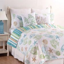 REEF POINT Queen Quilt SET w/ Shams Nautical Shell Beach White Cotton Reversible