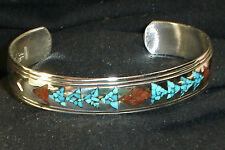 NAVAJO STERLING SILVER TURQUOISE CORAL CHIP BRACELET NATIVE AMERICAN DEAD PAWN