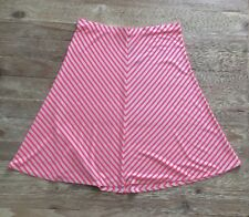 ANN TAYLOR Neon Bright Pink Striped A- Line Jersey Knit Skirt - Womens Size M