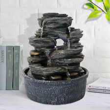 5-Tiered Resin-Rock Relaxation Indoor Tabletop Water Fountain Designed with LED