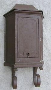 Antique Old Time TUDOR MAILTAINER Brown Metal Vintage Mailbox Letter Holder