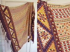 "Scarf India Paisley Ethnic Sarong Shawl Wrap Beach Purple Yellow Beige 43""x62"""